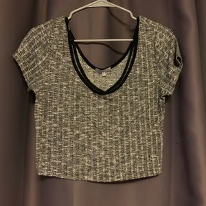 Gray and black sweater like crop top size medium